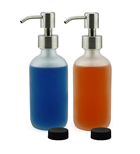 Cornucopia Brands Frosted Glass Soap Dispenser w/Stainless Steel Pumps (White Frosted, 8-Ounce, 2-Pack); Boston Round Bottles w/Lotion Pump Tops and Caps