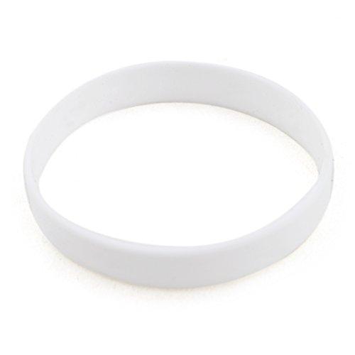 GOGO Wholesale Silicone Bracelets Bulk Rubber Band Bracelets Adult-Sized Rubber Wristbands For Party-White-12 pcs