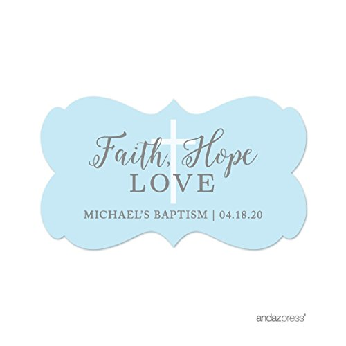 Andaz Press Baby Blue and Gray Boy Baptism Collection, Personalized Fancy Frame Label Stickers, Faith Hope and Love, 36-Pack, Custom Name by Andaz Press