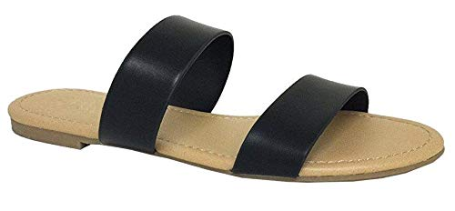 The Collection Annie Womens Double 2 Strap Sandal Low Flat Heel Slip On Slide, Black, 5.5