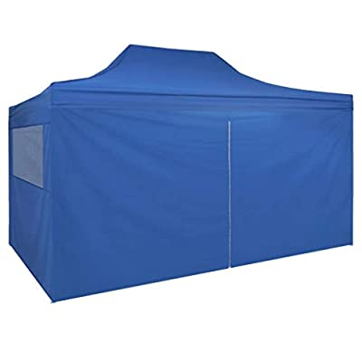 Foldable Tent Pop-Up with 4 Side Walls 9.8'x14.8' Blue: Sports & Outdoors
