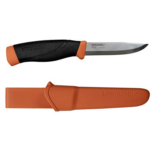 Morakniv Companion Heavy Duty Knife with Stainless Steel Blade, 4.1-inch, Orange ()