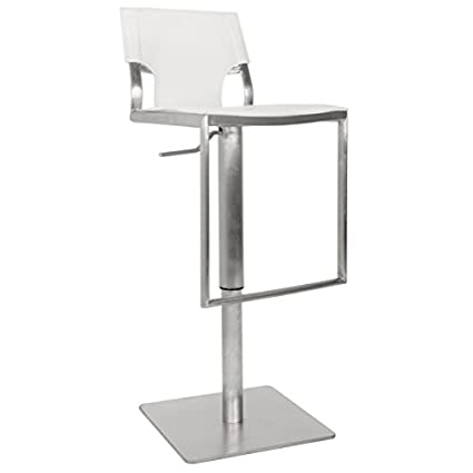 Surprising Safavieh Home Collection Armondo Stainless Steel And White Leather Adjustable Gas Lift 22 4 31 5 Inch Bar Stool Machost Co Dining Chair Design Ideas Machostcouk