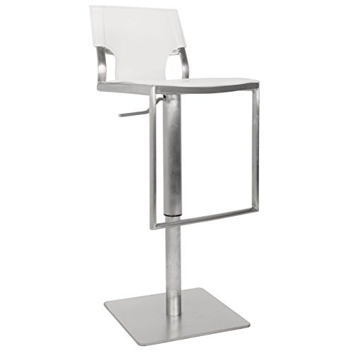 Safavieh Home Collection Armondo Stainless Steel and White Leather Adjustable Gas Lift 22.4-31.5-inch Bar Stool
