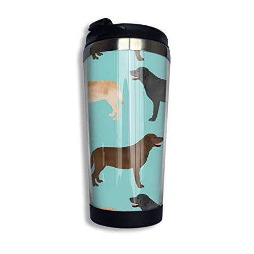 14 Oz Double Skin Outdoor Coffee Mugs With Splash-Proof Lid, Reusable Insulated Tumbler Mug for Mom Dad Gifts, Cute Labradors Yellow Chocolate Black Lab Pet Dogs Nice Thermos (Best Food For Labrador In India)