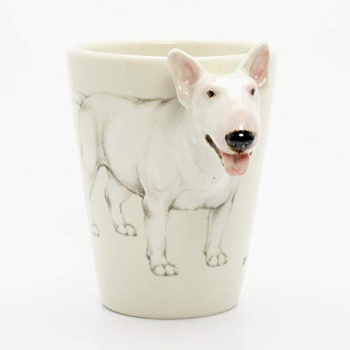(English Bull Terrier All White 00006 Mug Ceramic Coffee Cup Original hand sculpt and hand paint Mug Spceial Gift for Dog lovers)