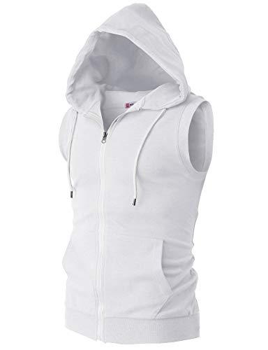 H2H Mens Basic Zip Up Sleeveless Hoodie Vest White US 3XL/Asia 4XL ()