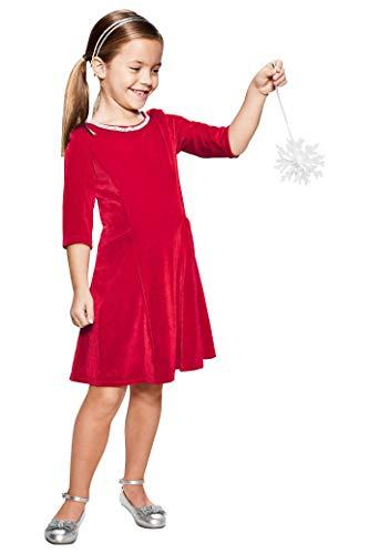 Chasing Fireflies Girls Velvet Jewel Dress Red ()