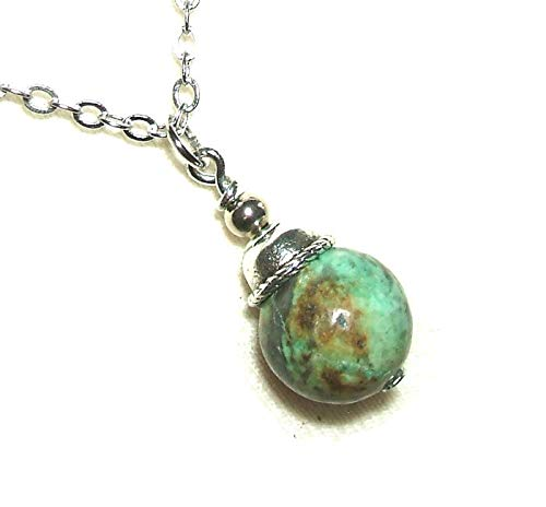 AFRICAN TURQUOISE NECKLACE Pendant CLEAR FOCUS TRANSFORMATION RENEW SPIRIT Metaphysical Sacred Stone Silver Plt