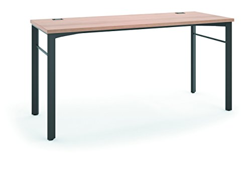 (HON Manage Table Desk - Compact Work Station, 60w x 23.5d x 29.5h, Wheat/Ash (HMNG60WKSL))
