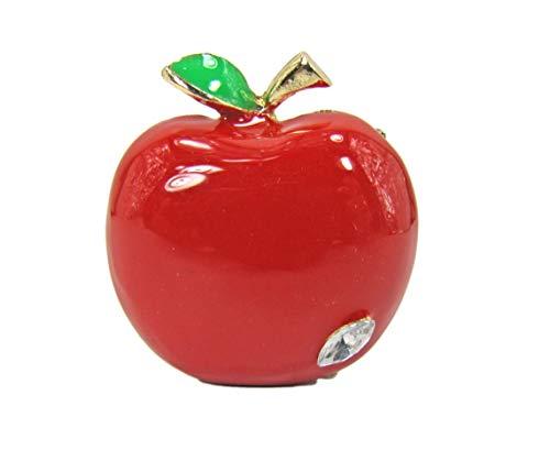 Calisa Designs Red Enamel and Crystal Apple Brooch Pin - New