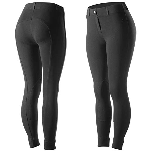 Horze Ella Women's Pull-On Knee Patch Breeches - Black - Size -