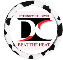 (Black and white cow steering wheel cover)