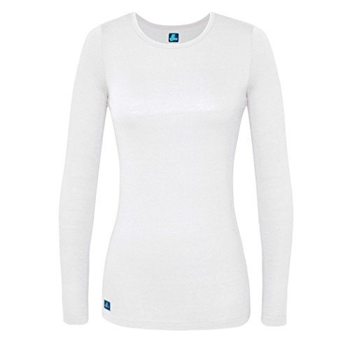 Adar 2 Pack Women's Comfort Long Sleeve T-Shirt/Underscrub Tee - 2902 - Wht - L by ADAR UNIFORMS (Image #1)