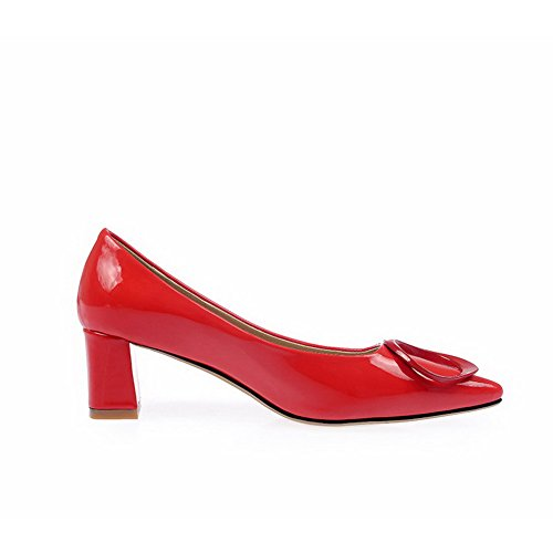 Damen Lackleder Spitz Zehe Mittler Ziehen auf Rein Pumps Schuhe, Rot, 33 VogueZone009