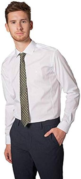 ETIEM Camisa Vestir Slim Fit Blanca para Hombre 42 Blanco ...