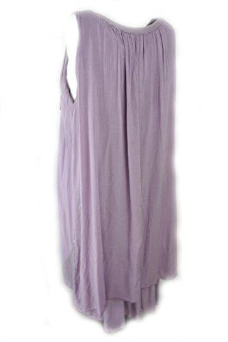Fashion Sommerkleid aus schön fallendem Viscosestoff mit Pailetten flieder 38-42