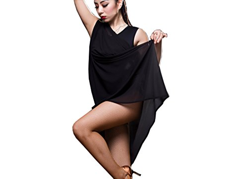 Black Cha Latin dress Ballroom Tango dance skirts dress Cha Dress skirt Chiffon wwI6PrHpWq