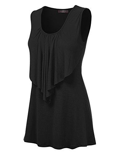 WT1355 Womens Sleeveless Front Ruffle Tank Top XXL BLACK Black Ruffle Front Shirt