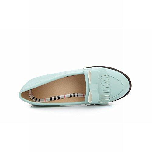 Shoes Tassel Pumps Fashion Mid Bow Latasa Blue Womens Heel Casual Chunky q41H8Uw