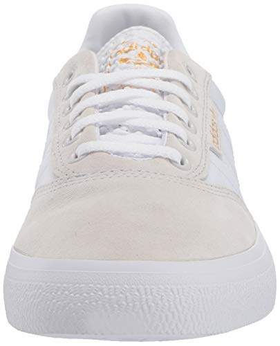 adidas Originals Men's 3MC Regular Fit Lifestyle Skate Inspired Sneakers Shoes, Crystal White/White/Gold Metallic,4