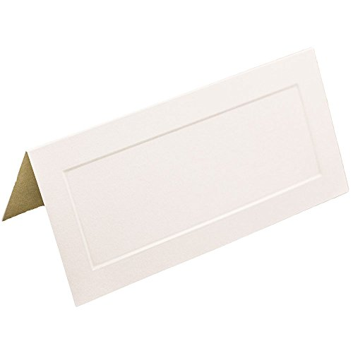 JAM PAPER Foldover Wedding Table Place Cards - 2 x 4 1/2 - Off White with Embossed Border - 100/Pack
