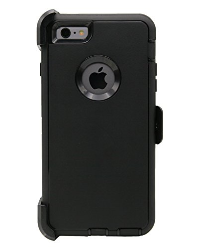 WallSkiN Turtle Series Cases for iPhone 6 Plus/iPhone 6S Plus (Only) Full Body Protection with Kickstand & Holster - Shadow (Black/Black)