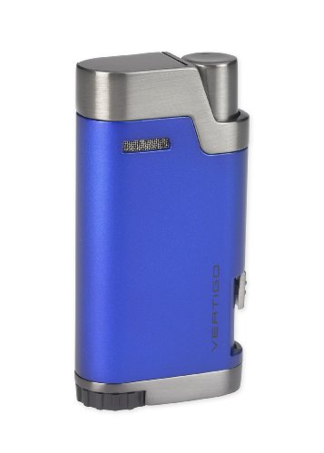 NEW VERTIGO - BULLET BLUE - WIND RESISTANT DOUBLE TORCH FLAME CIGAR LIGHTER WITH INTEGRATED CIGAR PUNCH - Soft Blue Torch Flame Lighter