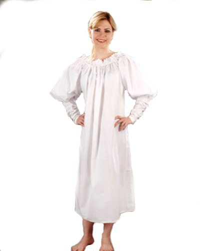 [Medieval Chemise - White Cotton Blend - One size fits most] (Irish Chemise)