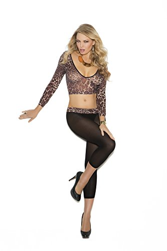 Sexy Women's Opaque Animal Print Long Sleeve Cami Top And Leggings Lingerie (Slutty Animal Costumes)