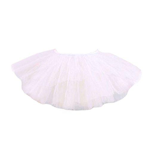 White Swan Ballet Costume (Three Layers Yarn Dance Skirt Kid Swan Lake Costumes Ballet Dress-White)