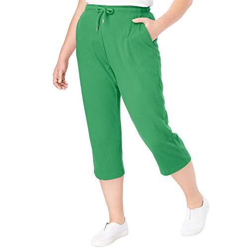 Woman Within Women's Plus Size Petite Sport Knit Capri Pant - Vibrant Clover, 6X