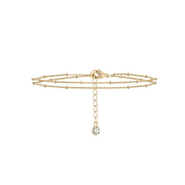 Mevecco Gold Tiny Pearl Bracelet,14K Gold Plated Cute Beaded Freshwater Cultured Pearls Tiny Charm Dainty Handmade Bracelet for Women…