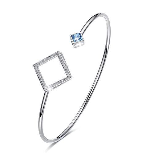 Cuff Platinum Bracelet - Open Silver Bracelets Swarovski Crystal Cuff Bangles Women Wrist Jewelry Platinum Plated