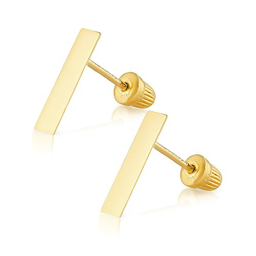 14k Yellow Gold Bar Earrings Solid Hypoallergenic Geometric Flat Stud with Screwback for Women and Girls