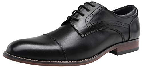 VOSTEY Men's Oxford Cap Toe Brogue Formal Dress Shoes for Men (11,Black)