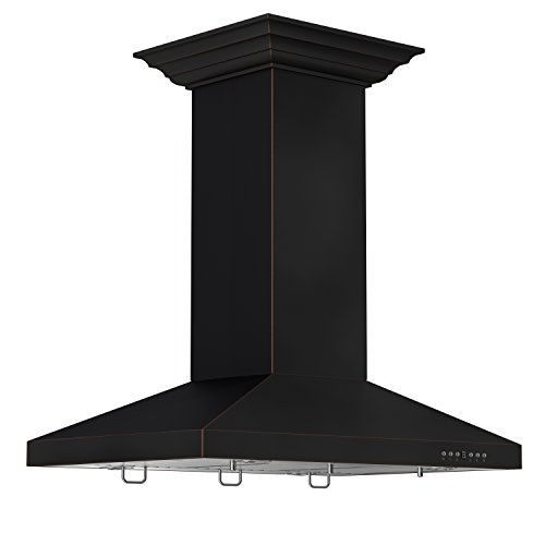 - ZLINE 36 in. 760 CFM Designer Series Oil-Rubbed Bronze Island Mount Range Hood (8KL3iB-36)
