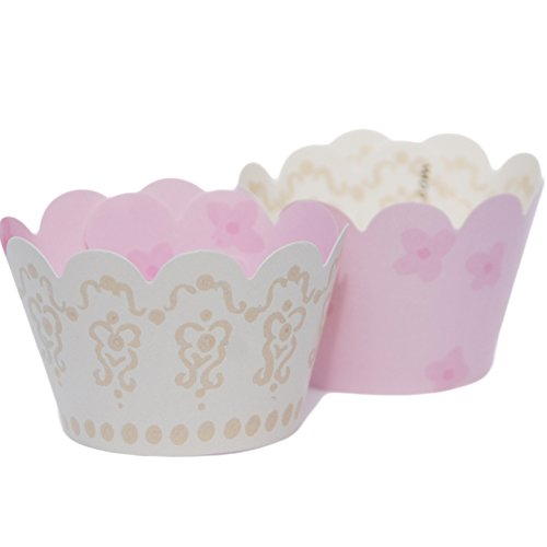 MINI Pink Cupcake and Candy Wrappers, Blush Pastel Reverses to Ivory Lace, 24 Wraps, Confetti Couture Party Supplies