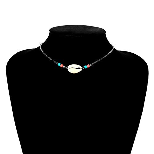 (New Bohemian Jewelry Simple Gold Silver Color Alloy Chain Woven Beads Shell Clavicle Choker Necklace for Women Beach Accessories)