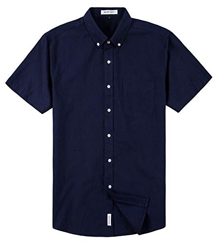 MUSE FATH Men's Short Sleeve Oxford Casual Button Down Wedding Dress Shirt with Chest Pocket-Navy Blue-XL