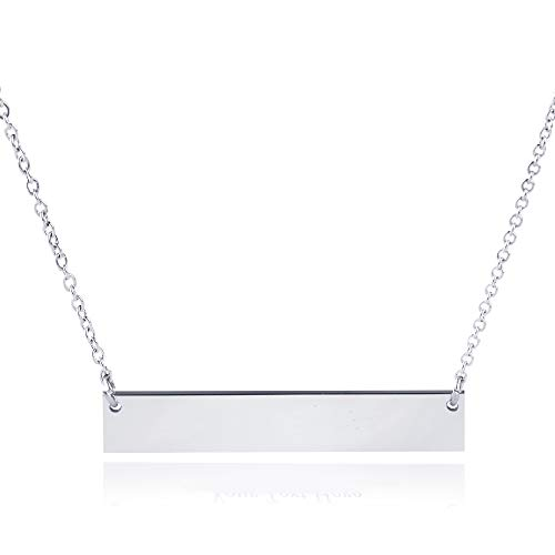 Caramel Sweet Life Chic Polished Stainless Steel Silver Tone Horizontal Bar Necklace Pendant 5 Colors with Chain (Stainless Steel (No Engraving))