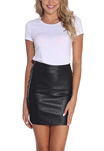 GUANYY Women's Faux Leather Vintage High Waist Classic Slim Mini Pencil Skirt(Black,Large)