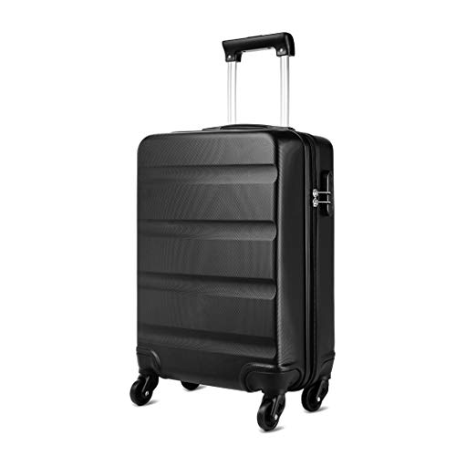 KONO 20 inch Suitcase Hard Shell Carry-On Hand Luggage with 4 Spinner Wheels Lightweight ABS Trolley Case Travel Bag 20 , 1991 Black