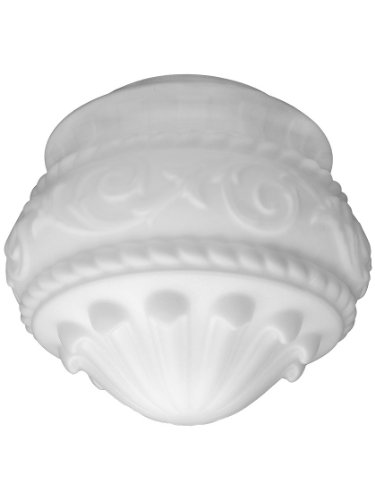 """Embossed Scroll Satin Opal Shade With 8"""" Fitter. Antique Lig"""