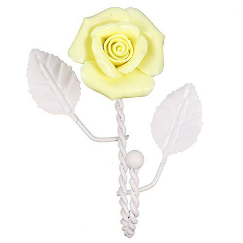 HUELE Wall Mounted Vintage Metal Ceramic Beautiful Pink Rose Hook Coat Hat Hanger Curtain Valance Holdback Wall Hook