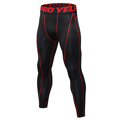 (Freahap Mens Compression Pants Quick Dry Elastic Training Trousers Fitness Sport Leggings Black/Red 2XL)