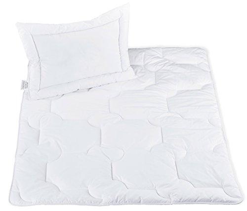 ZOLLNER® kochfestes Kinder / Baby Kopfkissen und Bettdeckenset versteppt, Größe 100x135 cm und 40x60 cm weiß, direkt vom Hotelwäschehersteller, Serie
