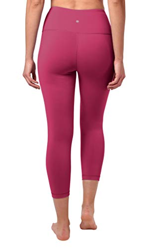 "90 Degree By Reflex High Waist Squat Proof Capris - 22"" Interlink Workout Capris - Pomberry - XS"