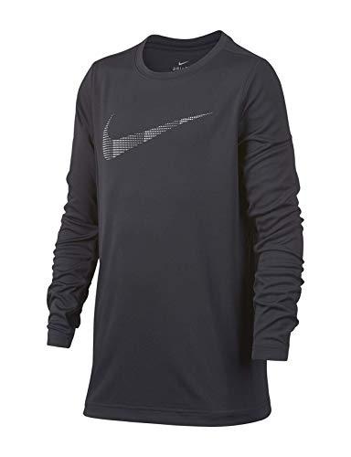 Nike Big Boys' Swoosh Logo Polyester Dri-Fit Long Sleeve T-Shirt