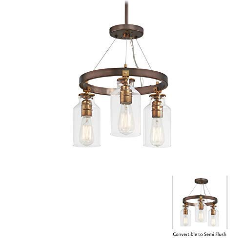 Minka Lavery Semi Flush Mount Ceiling Light 4553-588 Morrow Lighting Fixture, 3-Light, Harvard Court Bronze w/ Gold Highlights